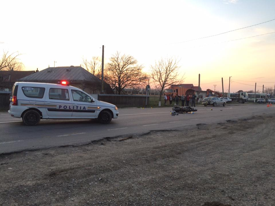 Motociclist accidentat la Racova